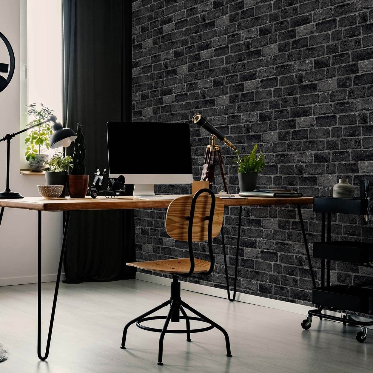 Fresco House Brick Charcoal Wallpaper ...
