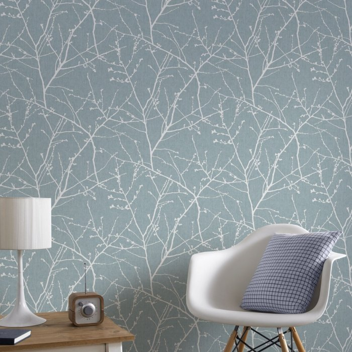 tranquil natural twig design wallpaper
